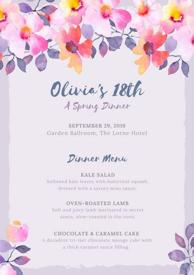 purple plums  birthday program templates  canva