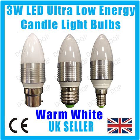 3w led ultra low energy warm white candle light bulbs