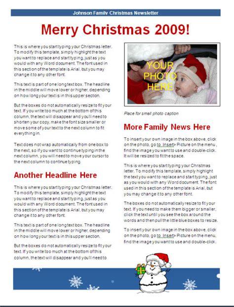 christmas newsletter template blue snowman design