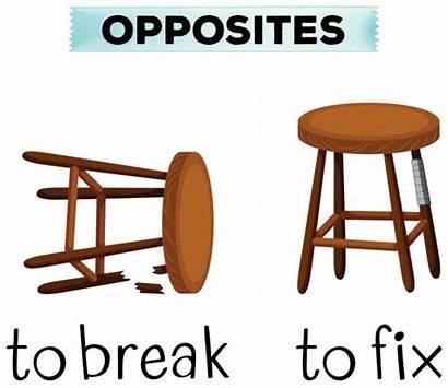 Fix Break Opposite Words Broken Chair Vector