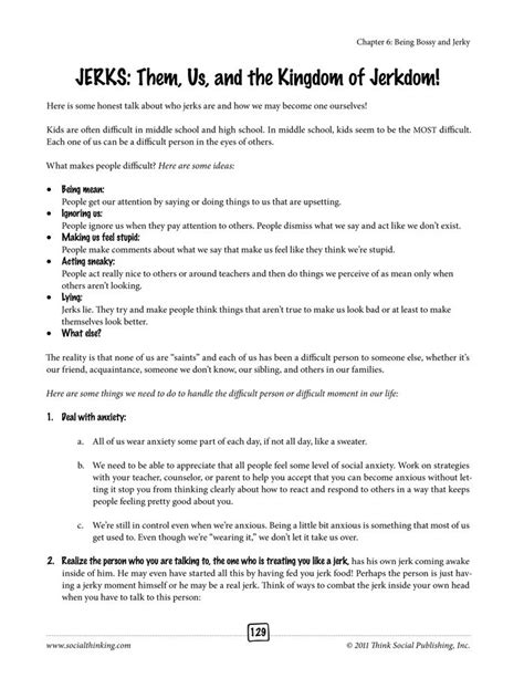 From The Book Social Thinking Worksheets For Tweens And Teens Learning To Read Inbetween The