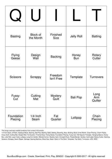 quilt bingo cards   print  customize