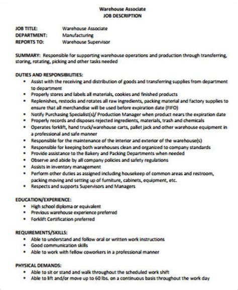 8+ Warehouse Associate Job Description Samples  Sample. Salesperson Resume. Professional Font For Resume. What To Put As Your Objective On A Resume. Sample Teaching Resume. Mental Health Resume. Mailman Resume. Resume Address Format. Language Proficiency On Resume