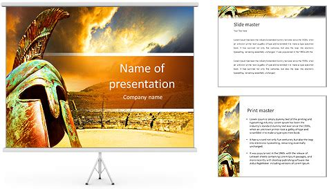 ancient greece powerpoint template ancient hitheater and helmet powerpoint template backgrounds id 0000011006