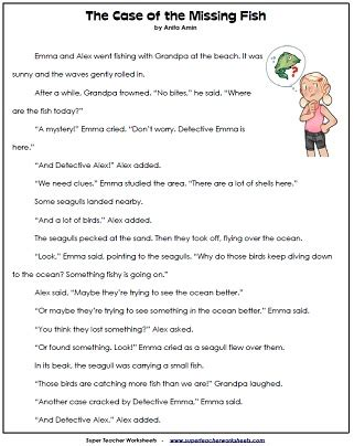free second grade worksheets reading comprehension