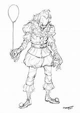 Pennywise Coloring Pages Clown Printable Getcolorings Print sketch template