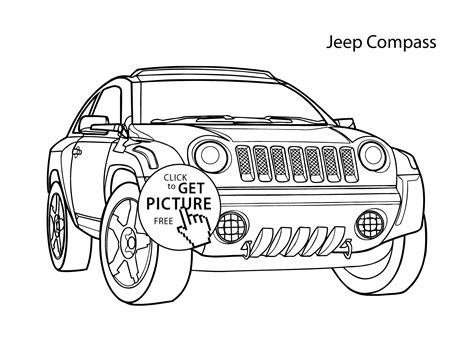super car jeep compass coloring page cool car printable
