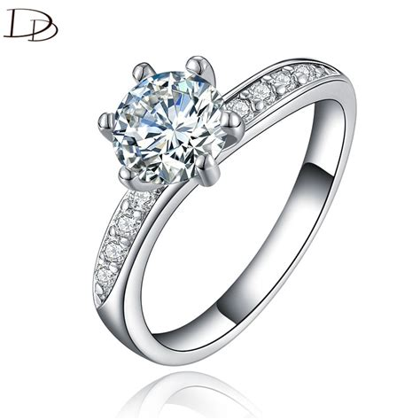 chic aaa rhinestone ring for women vintage 925 sterling silver wedding engagement rings fashion