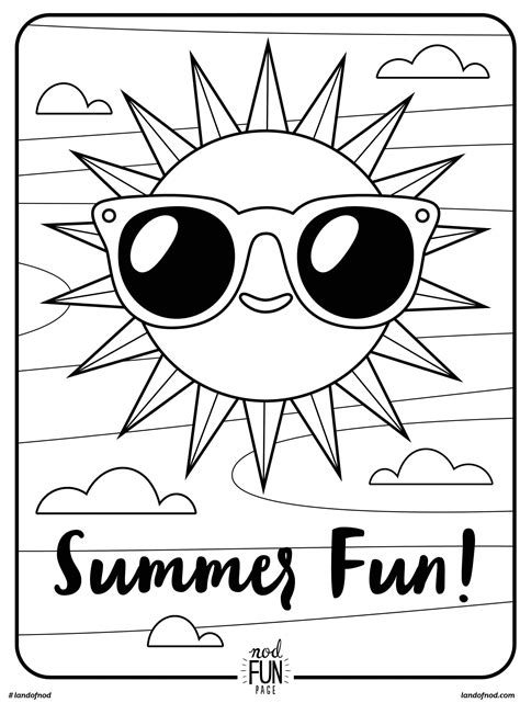 summer color pages free printable coloring page summer summer