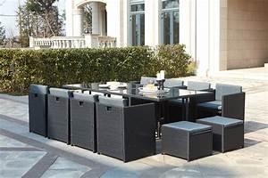 Salon En Resine : table de jardin r sine tress e encastrable noire 12 places miami ~ Teatrodelosmanantiales.com Idées de Décoration