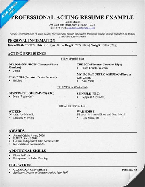 Professional Acting Resume Template by Sle Resume For Professional Acting Free Resume Templates