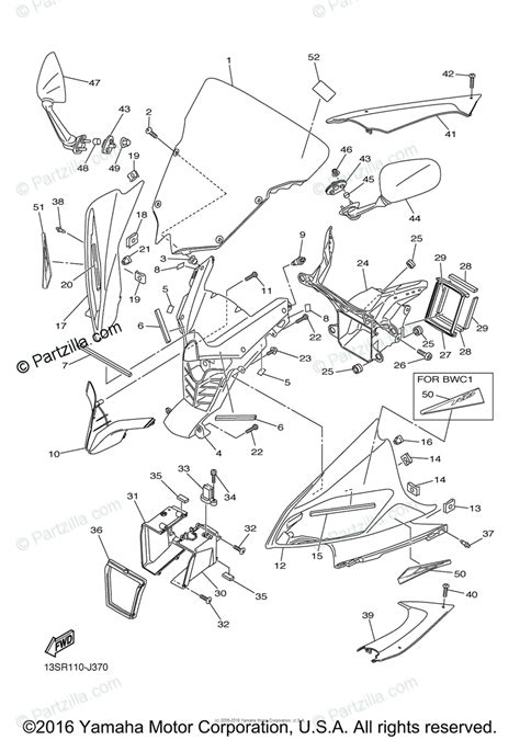 yamaha motorcycle 2010 oem parts diagram for cowling 1 partzilla com
