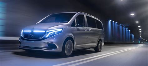 mercedes benz unveils eqv  electric minivan