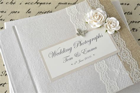 wedding band sets for personalised wedding photograph album vintage lace