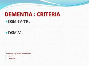 Approach to dementia