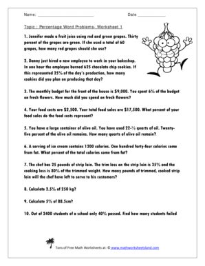 Fillable Online Topic Percentage Word Problems Worksheet 1 Fax Email Print Pdffiller