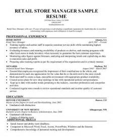 retail sales manager resume exles sle resumes retail resume cv cover letter