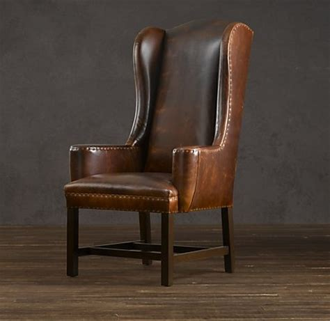 belfort wingback leather dining chair for 2 ends dining