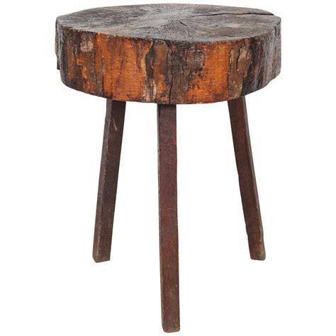 how tall are end tables rustic wood block tall side table at 1stdibs