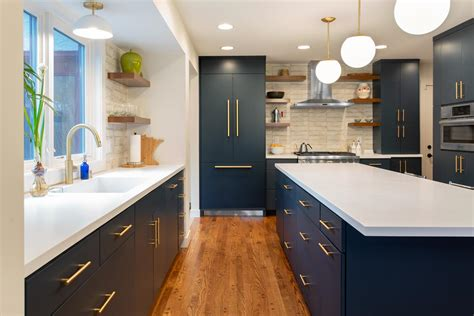 transitional navy kitchen mcdonald remodeling
