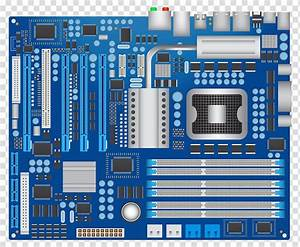Blue And Gray Computer Motherboard Illustration  Computer