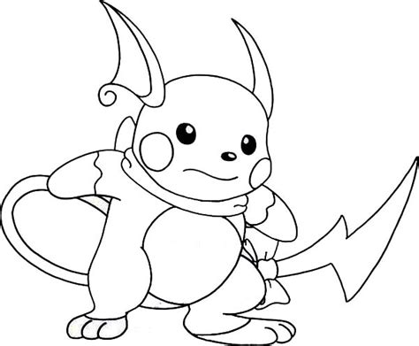 Kleurplaat Raichu by Raichu Is Ready To Fight Coloring Page Color