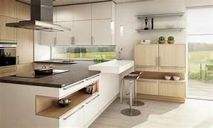 ophreycom cuisine blanche et bois clair prelevement d With cuisine blanche et bois clair