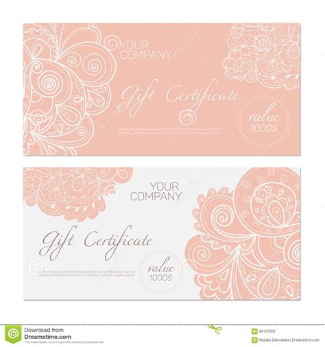 gift certificate pink stock vector image  coupon