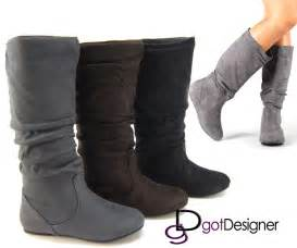 womens boots fashion womens boots knee high fashion slouch stylish shoes flat boot faux suede comfort ebay
