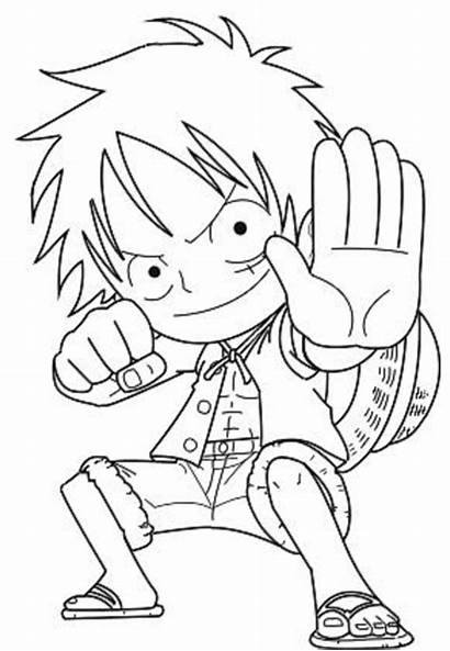 Luffy Coloring Chibi Pages Printable Anime Piece