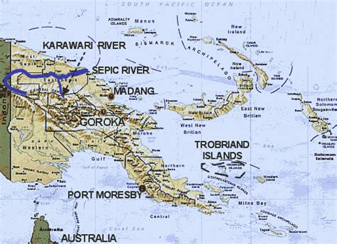 LIVING TRAVEL - Map of PAPUA NEW GUINEA