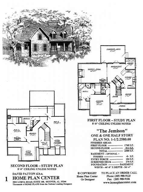 one and a half story home plan center 1 1 2 2580 00 jemison