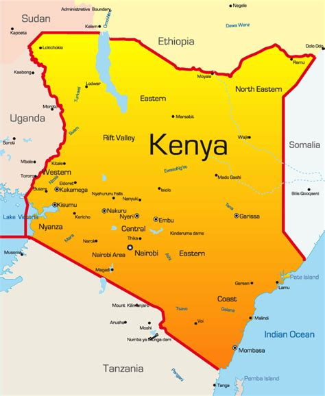 kenya map showing attractions accommodation