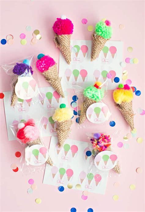 cutest mini pom pom ice cream cone party favors