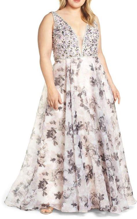 Mac Duggal Floral Print Illusion V-Neck Evening Dress ...