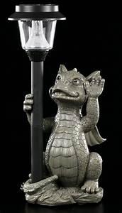 garten figur drache mit solarlampe lampe deko statue With französischer balkon mit garten statue