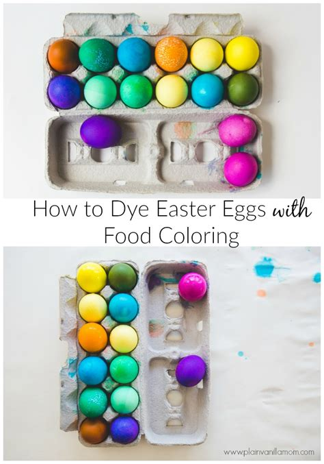dye easter eggs  food coloring plain vanilla mom