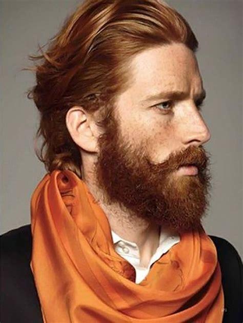 mens hair and beard styles longer layers hair beard 8002