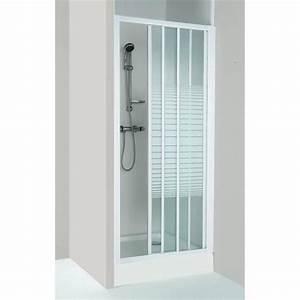 paroi de douche 3 volets coulissante fd80sc achat With porte de douche coulissante avec panneau porte salle de bain
