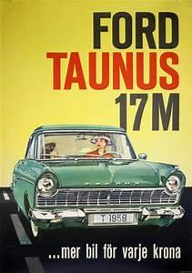 Printed Invoice Original Vintage Poster Ford Taunus 17m For Sale At