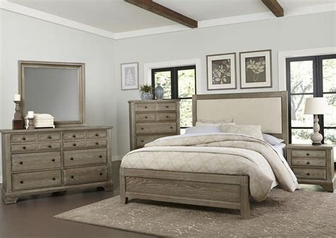 bedford washed oak upholstered panel bedroom set