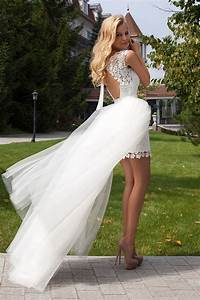 summer style wedding dress short front long back romantic With short in the front long in the back wedding dresses