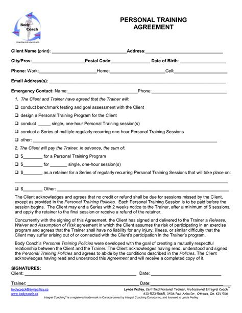 personal training contract template  printable documents
