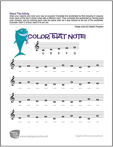 Color That Note  Free Note Name Worksheet  Treble Clefc Position (digital Print) Visit