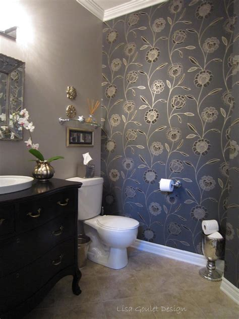 wallpaper in bathroom ideas powder room transformation