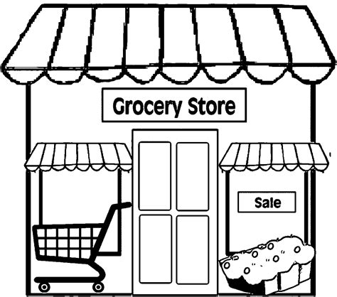 grocery clipart black and white restaurant building simple restaurant coloring page