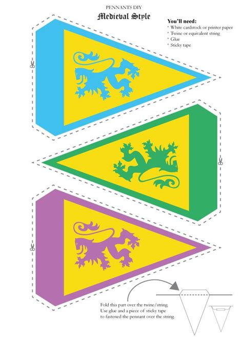 template medieval banner free medieval theme pennant template perfect for kids party