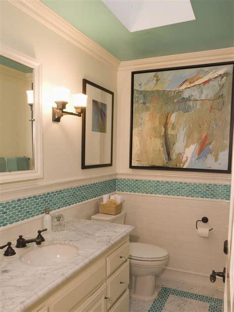 aqua tile bathroom  contemporary artwork hgtv