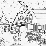 Coloring Scenery Night Drawing Printable Pumpkin Fall Sky Farm Moon Harvest Cartoon Sketch Adult Getdrawings Sheet Children Kindergarten Getcolorings Witch sketch template