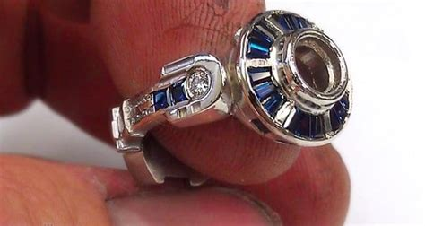Star Wars Fan Creates One Of A Kind R2d2 Engagement Ring. 3 Stone Wedding Rings. Chain Rings. Atypical Engagement Rings. Triton Rings. Princess Disney Rings. Fantasy Rings. Huge Rectangle Diamond Rings. Hand Full Rings